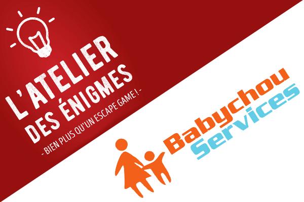 Visuel du partenariat de L'Atelier des énigmes et Babychou